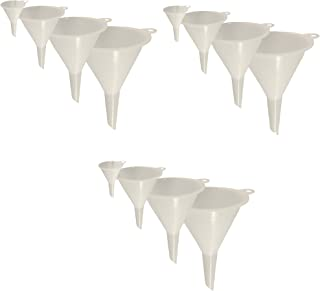 Set of 12 General Purpose Plastic Funnels, Assorted Sizes Nested Funnel Set