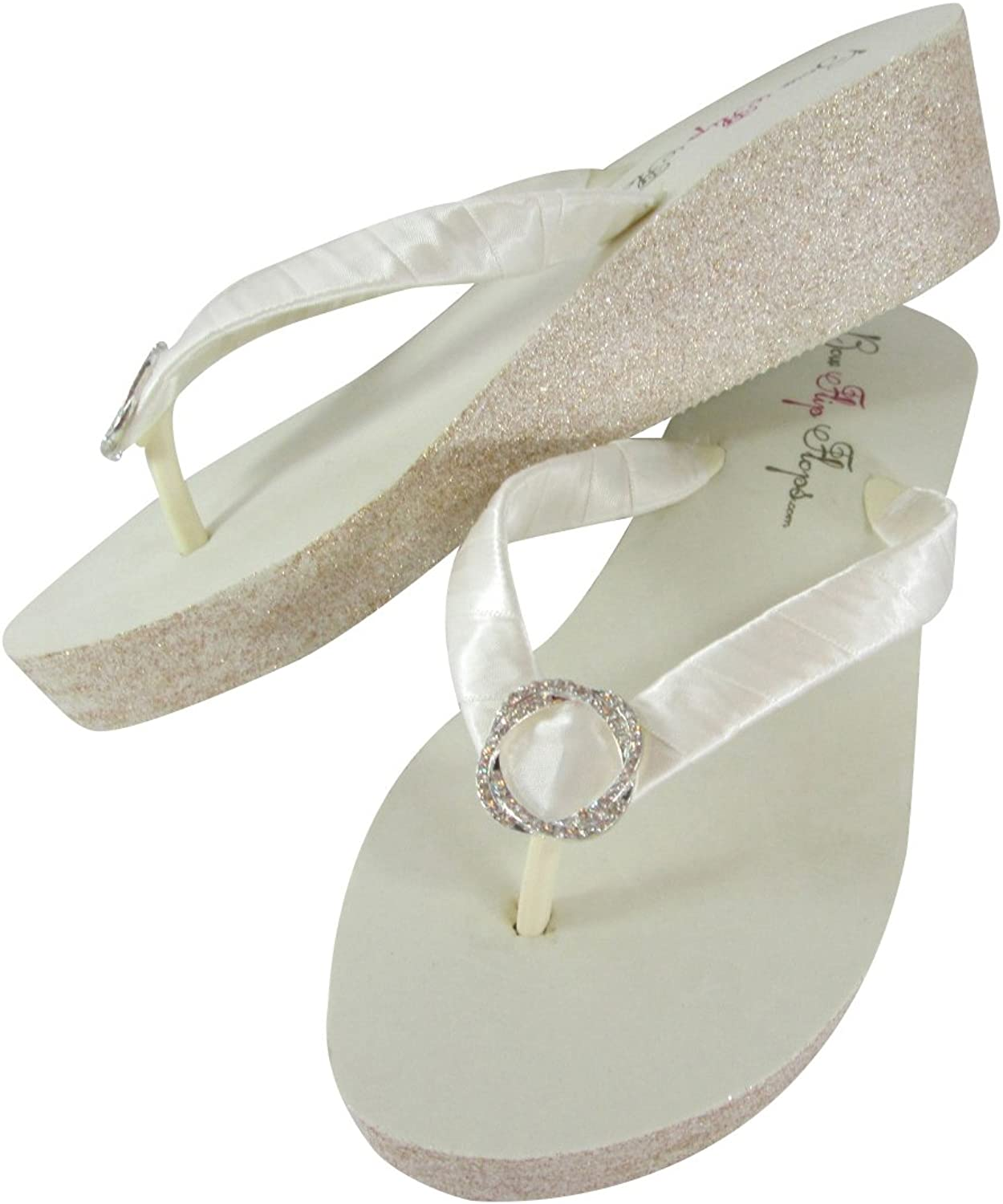 Infinity Circle Champagne and Ivory Glitter Wedge Flip Flops for The Wedding Bride Bling
