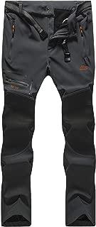 Bohuma Men's Outdoor Windproof Waterproof Softshell Fleece Hiking Snow Pants (A Dark Grey, S)
