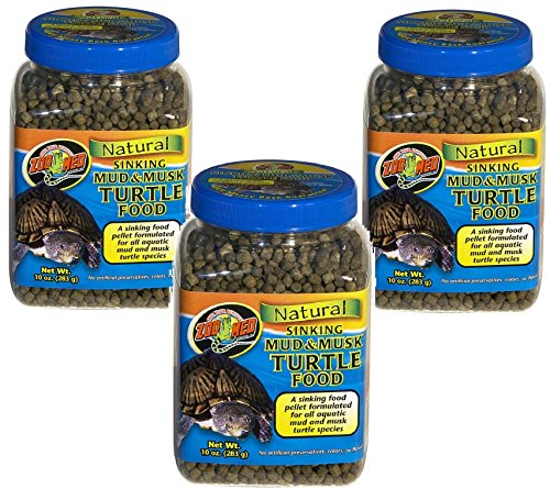 (3 Pack) Zoo Med Natural Sinking Mud Musk Turtle Food: 10-Ounce each