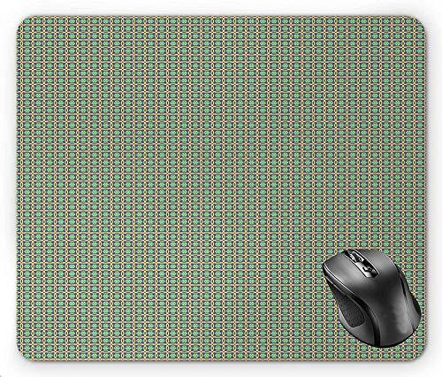 Geometrisch herhaald patroon met abstract motief in cirkels Symmetrie Blue Violette mosterd Dark Seafoam Mouse Pad