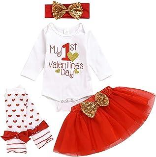 Moneycom, ❤ recién Nacido bebé niña niña San Valentín Falda tutú Diadema Calcetines Conjunto Rojo
