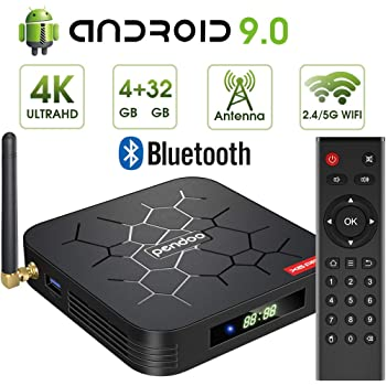 pendoo Android 9.0 TV Box, X6 PRO Android TV Box 4GB RAM 32GB ROM, Dual-WiFi 2.4GHz/5GHz Bluetooth Quad Core 64 Bits 3D/4K Full HD/H.265/USB3.0 Android Box