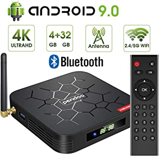 Android 9.0 TV Box, Pendoo X6 PRO Android TV Box 4GB RAM 32GB ROM, Dual-WiFi 2.4GHz/5GHz Bluetooth Quad Core 64 Bits 3D/4K Full HD/H.265/USB3.0 Android Box