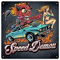 なまけ者雑貨屋 Speed Demon Flaming Hot Rod アンティーク風 デザインボード ブリキ看板 メタル