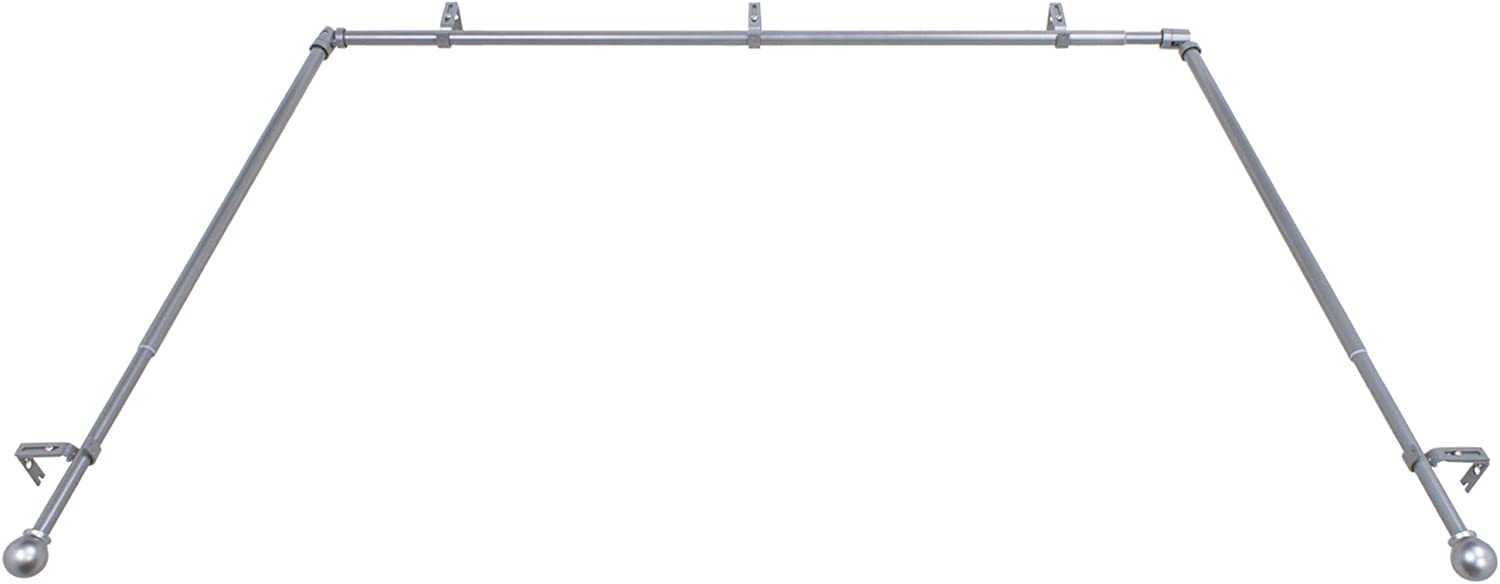 Decopolitan Bay Window Single Rod Set, Antique Silver, Size: extends from 36-72 inches, side rods extend 18-36 inches.Projection:3.5 inches: Home & Kitchen