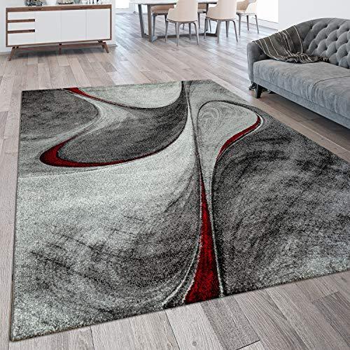 Paco Home Tappeto per Soggiorno Moderno a Pelo Corto con Linee Curve e Motivo Astratto 3D, Dimensione:80x150 cm, Colore:Rosso