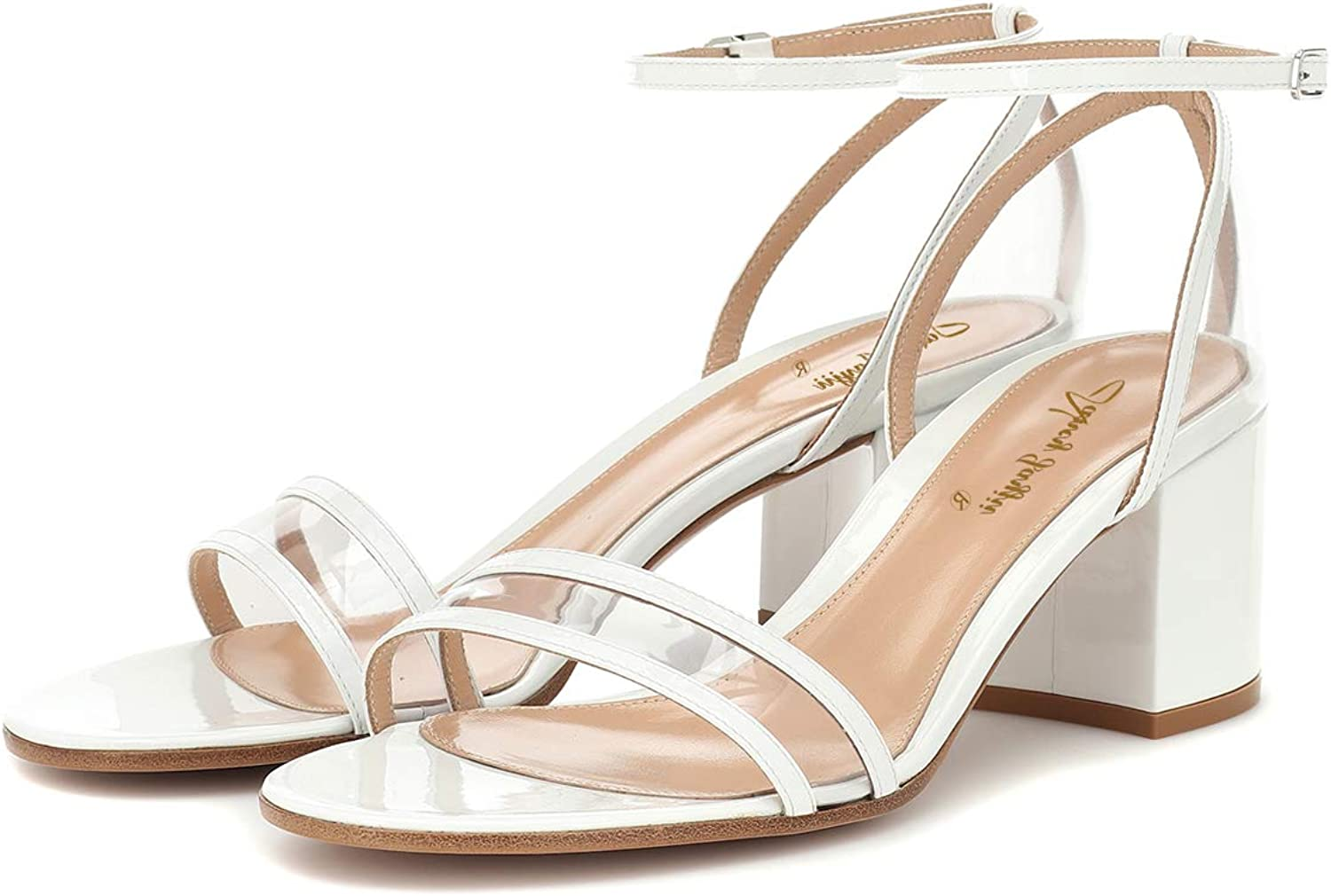 NJ Women Ankle Strap Slingback Low Heel Sandals Open Toe Strappy Transparent Clear PVC Daily Office Dress Pumps