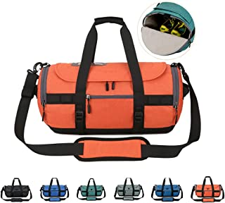 Sports Gym Bag with Shoes Compartment, Travel Duffle Bag for Men and Women,Orange