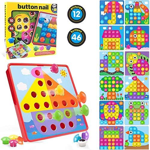 HOUSON Steckspiel, Puzzle Steckbox mit 46 Stecker & 12 Vorlagen, Mosaik...