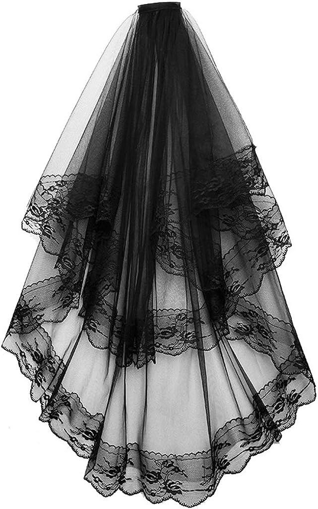 Bridal Veils Wedding Lace Cathedral Bachelorette Fingertip Ribbon Edge 2 Tier