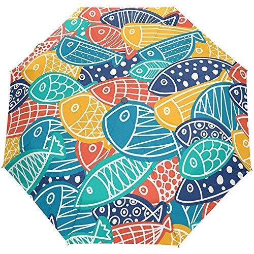 Ocean Sea Rainbow Fish Auto Open Paraplu Zon Regen Paraplu Anti UV Vouwen Compact Automatische Paraplu