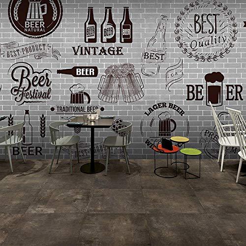 Afashiony 3D Wandbild Tapete Für Wohnzimmer Grau Zement Schwarz Weiß Mauer Retro Tapeten Bar Grill Fast Food Restaurant Bier Shop Foto Tapete-400Cmx280Cm