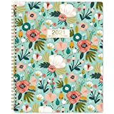 2021 Monthly Planner - 12-Month Planner with Tabs & Pocket,Contacts and Passwords, 8.5' x 11', Thick Paper, Jan. - Dec. 2021, Twin-Wire Binding - Green and Floral by Artfan