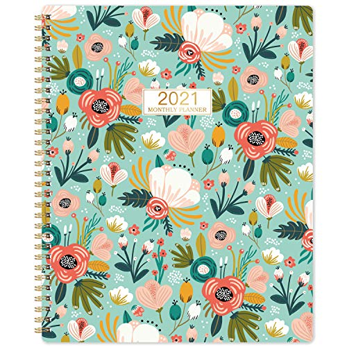 2021 Monthly Planner/Calendar - 12-Month Planner with Tabs & Double Side Pocket & Label, Floral Calendar Planners, Contacts and Passwords, Jan 2021 - Dec 2021, 8.5'x 11', Twin-Wire Binding