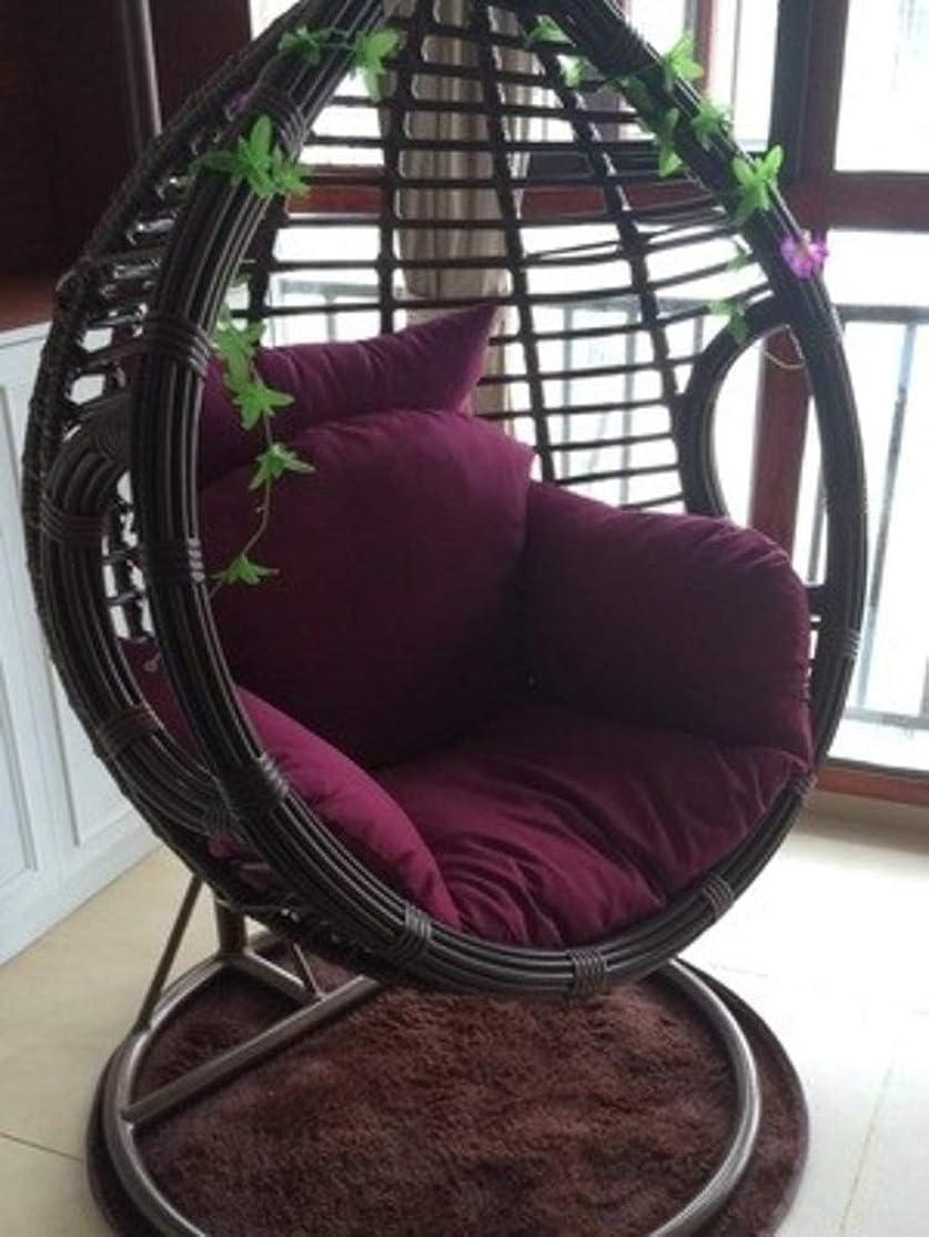 マインドフル散歩賠償1 ハンギング バスケットの椅子 クッション 厚い スイングチェアします。 シートクッション バルコニー 鳥の巣 椅子のクッション コートヤード 庭 籐の椅子 座布団 クッション (ハンギングチェアは含まない)-パープル シングル