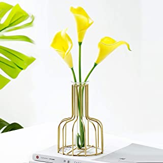 CRELIFE Artificial Flower Calla Lily with Golden Bird cage & Glass Bottle Ins Style Flower Arrangements in Glass Vase for ...