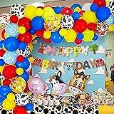 MMTX Cumpleaños Juguetes Globos De Fiesta Decoracion para Chico Chica,Granja Happy Birthday Bandera con Cerdo Caballo Vaca Glob Rojo azul amarillo Globos Niños Cumpleaños Festival Decoración Fiesta