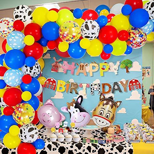 MMTX Compleanno Giocattoli Feste Palloncini Ghirlande Decorazioni Ragazzo Ragazza,Fattoria Birthday Bandiera con Mucca Maiale Cavallo Palloncini Rosso Blu Giallo Palloncini Bambini Compleanno Feste