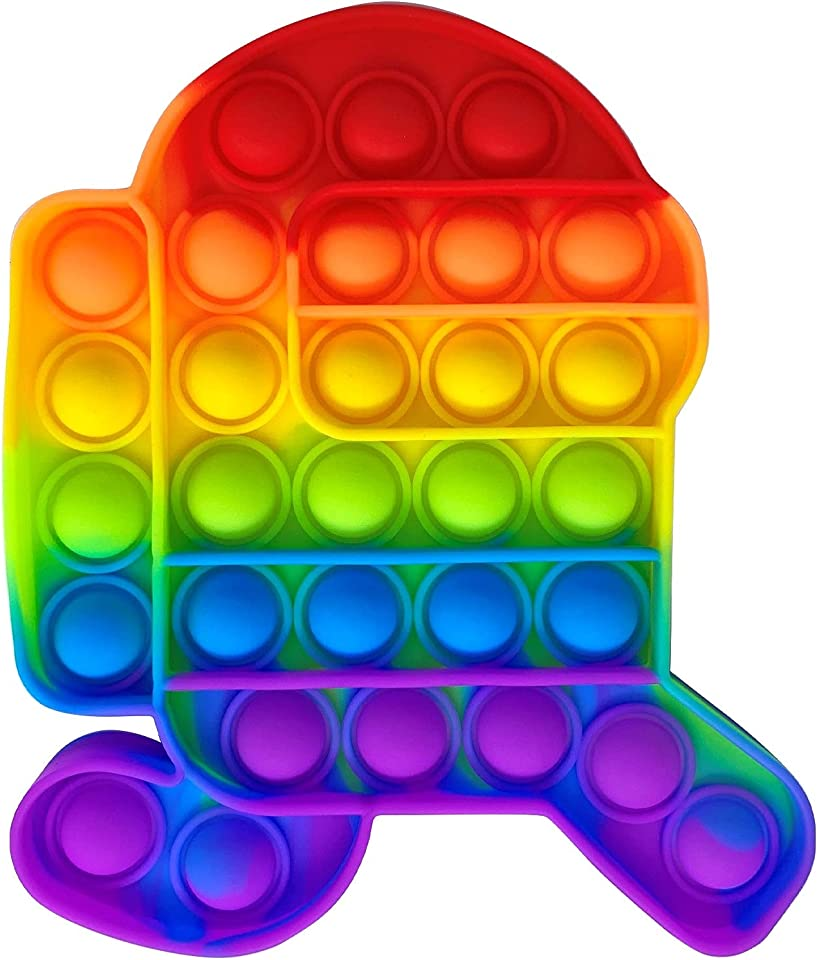 PLASTIFIC Push pop Bubble Sensory Fidget Toy | Autism Special Needs Stress Reliever| Anxiety Relief Toys | Extrusion Bubble Fidget Sensory Toy (1C - Running Astronaut Rainbow)