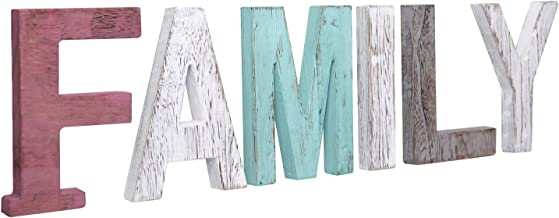 Y&Me Rustic Wood Family Sign, Decorative Wooden Block Word Signs, Freestanding Wooden..