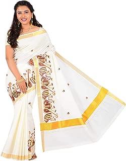 JISB Women's instrumental veena design kerala saree,6.25 Mtrs,Color Off white