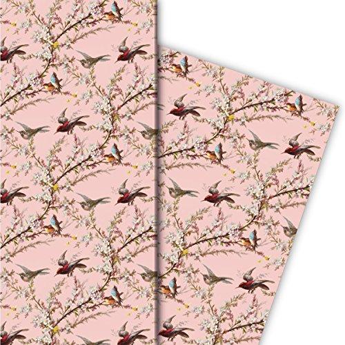 Kartenkaufrausch lente cadeaupapier, decoratiepapier, patroonpapier om in te pakken met bloemen en vogels als mooie geschenkverpakking, designpapier, scrapbooking 32 x 48 cm, 4 vellen op roze