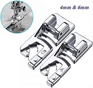 YEQIN 2 Pieces Narrow Rolled Hem Sewing Machine Presser Foot Set for Singer, Brother, Janome, Kenmore, and More Household Multi-Function Sewing Machines (4mm, 6mm)