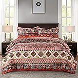 NEWLAKE Cotton Bedspread Quilt Sets-Reversible Patchwork Coverlet Set, European Boho Striped Pattern, Queen Size