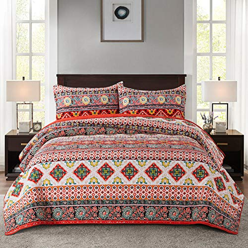 NEWLAKE Cotton Bedspread Quilt Sets-Reversible Patchwork Coverlet Set, European Boho Striped Pattern, Queen Size
