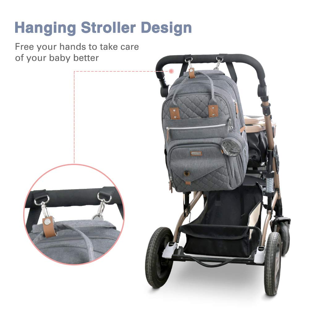 Lekebaby Diaper Bag Backpack with Changing Station, 3 in 1 Baby Diaper Bag with Travel Crib and Stroller Straps for Mom, Large Capacity, Grey