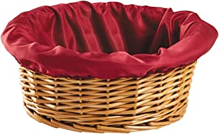 Round Church Offering Basket with Removable Burgundy Liner, 12 Inches