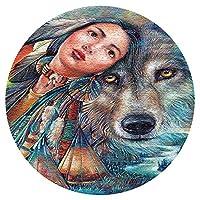 大人のためのジグソーパズル1000ピース、オオカミの夢の乙女ジグソーパズル、プレミアムジグソーパズル、誕生日プレゼント円形パズル
