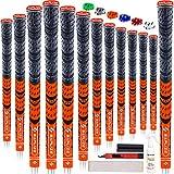 【13本セット】SAPLIZE セープライズ ゴルフグリップ ハーフコード・ラバー 多色 ミッドサイズ・スタンダード 滑り止め テープも無料に 橙*13本 スタンダード