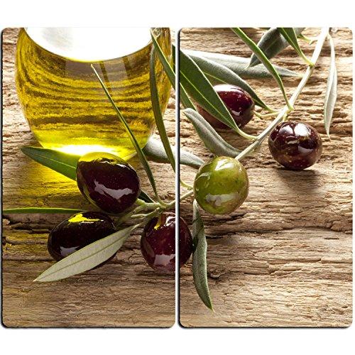 DEKOGLAS Herdabdeckplatten Set inkl. Noppen aus Glas \'Oliven Mediterran\', Herd Ceranfeld Abdeckung, 2-teilig universal 2x 52x30 cm