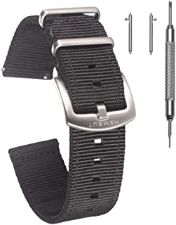 Quick Release Watch Bands - Choice of Color, Width (18mm, 20mm, 22mm or 24mm) - Watch Straps with 1.5mm Thickness, Quality Nylon Strap and Heavy Duty Brushed Buckle