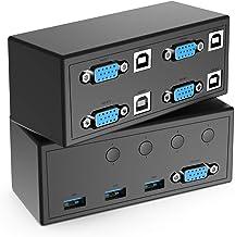 Selector de conmutador KVM, conmutador de conmutador VGA USB 4 IN 1 OUT 1080P para compartir 4PC 1 video y 3 dispositivos USB, controlar dispositivos múltiples con un monitor