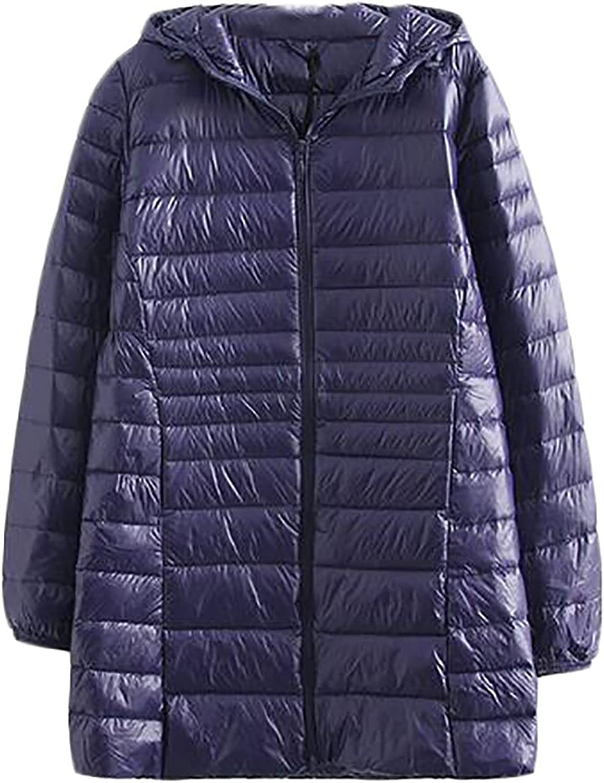 Smeiling Women's Winter Warm Hooded Lightweight Down Jackets Puffer Coats Plus Size
