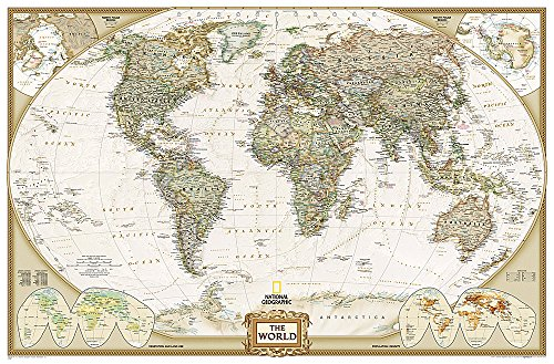 National Geographic: World Executive Enlarged Wall Map - Laminated (73 x 48 inches) (National Geographic Reference Map)