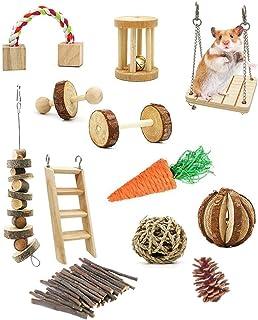 MXiiXM 12 Pack Guinea Pig Toys, Natural Apple Wood Rabbit Rat Bunny hillas Hamster Chew Toys Treats,Wooden Hamsters Exerci...