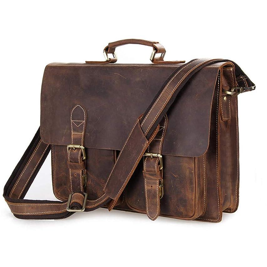 Canyixiu Men's Briefcase Retro Leather Men's Computer Bag 15