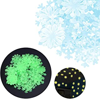 Mlide Fluorescent Wall Sticker, 50PC Kids Bedroom Fluorescent Glow in The Dark Snowflake Wall Stickers(Blue,3x3cm/1.19