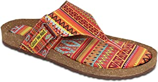 Colour Me Mad Orange Printed, Natural Cork, Washable, All Weather, Vegan, Made in India, PETA Certified, Women Sandals