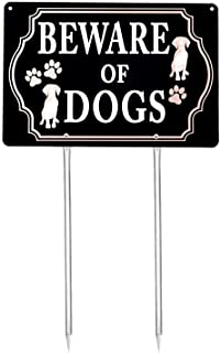 Kichwit Beware of Dogs Sign with Stakes, Aluminum, All Metal Construction, 11.8 x 7.9 Inches, Metal Stakes Included