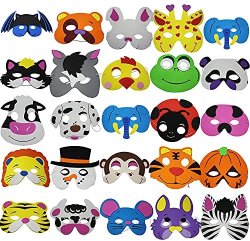 THE TWIDDLERS 50 Máscaras de Espuma para Niños - 25 Diseños   Bolsos de Fiesta