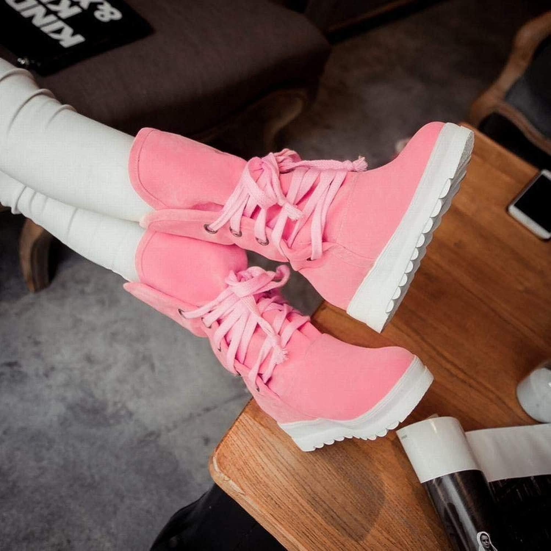 HhGold Damenstiefel - Matte Wildleder in der Tube Schnee Stiefel Winter Dicke warme Rutschfeste Student Schuhe Baumwolle Schuhe   34-43 (Farbe   Rot, Größe   EU 40)