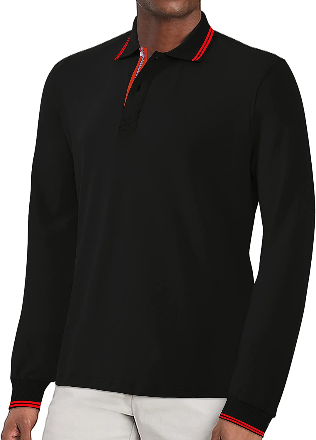 JULYLEE Mens Golf Polo Shirt Long Classic Large-scale sale Sleeve Fi Indefinitely Casual Short