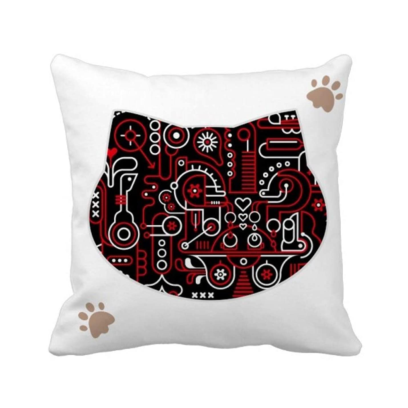 第五気づく敬礼落書き通りの抽象的な赤と白のパターン 枕カバーを放り投げる猫広場 50cm x 50cm