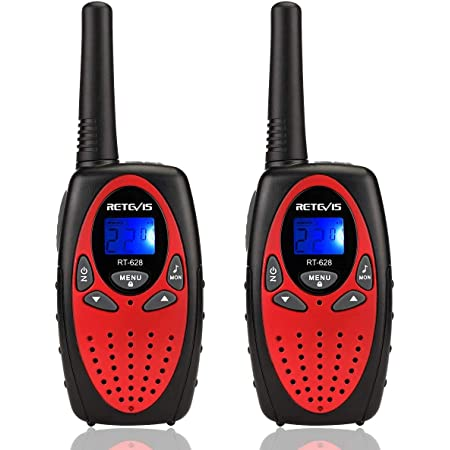 Retevis RT628 Walkie Talkies for Kids,Toy for 3-14 Years Old Boys and Girls,VOX 22 Channels LCD Screen,Kids Walkie Talkies for Birthday Gift Outdoor Adventure(Red, 2 Pack)