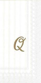 """Ideal Home Range 96 Count Stripes Again Monogram Letter Q Paper Guest Towel Napkins, 8.5"""" x 4.5"""""""